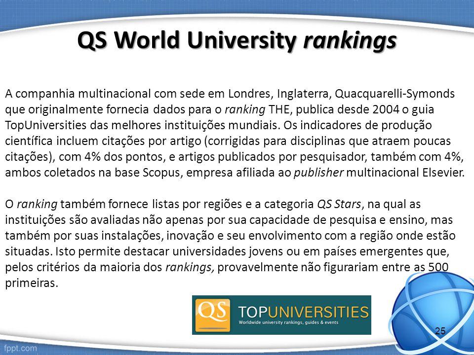 A companhia multinacional com sede em Londres, Inglaterra, Quacquarelli-Symonds que originalmente fornecia dados para o ranking THE, publica desde 2004 o guia TopUniversities das melhores instituições mundiais.