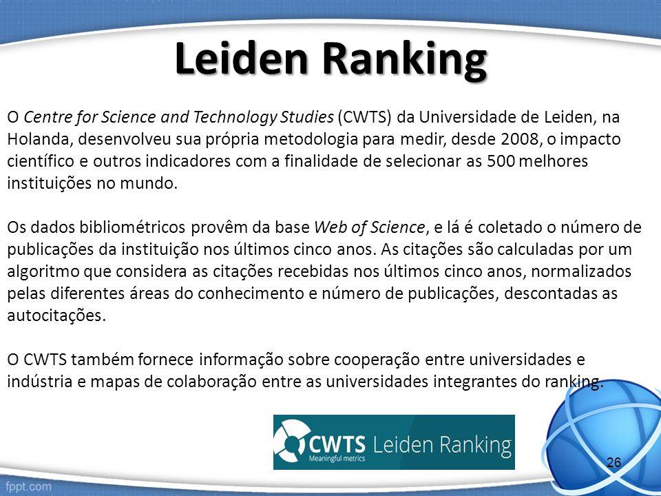 O Centre for Science and Technology Studies (CWTS) da Universidade de Leiden, na Holanda, desenvolveu sua própria metodologia para medir, desde 2008, o impacto científico e outros indicadores com a finalidade de selecionar as 500 melhores instituições no mundo.