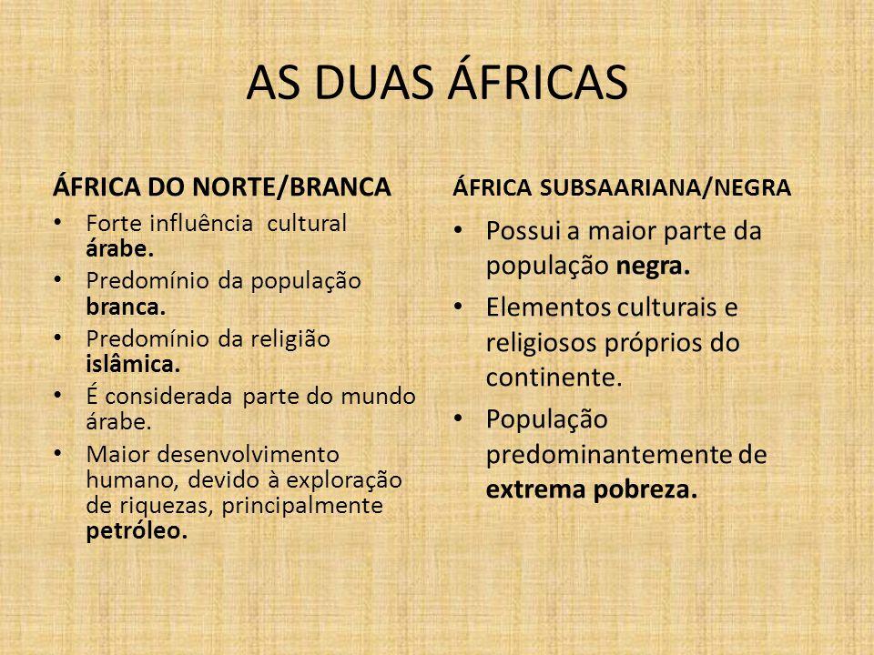 AS DUAS ÁFRICAS ÁFRICA DO NORTE/BRANCA Forte influência cultural árabe.