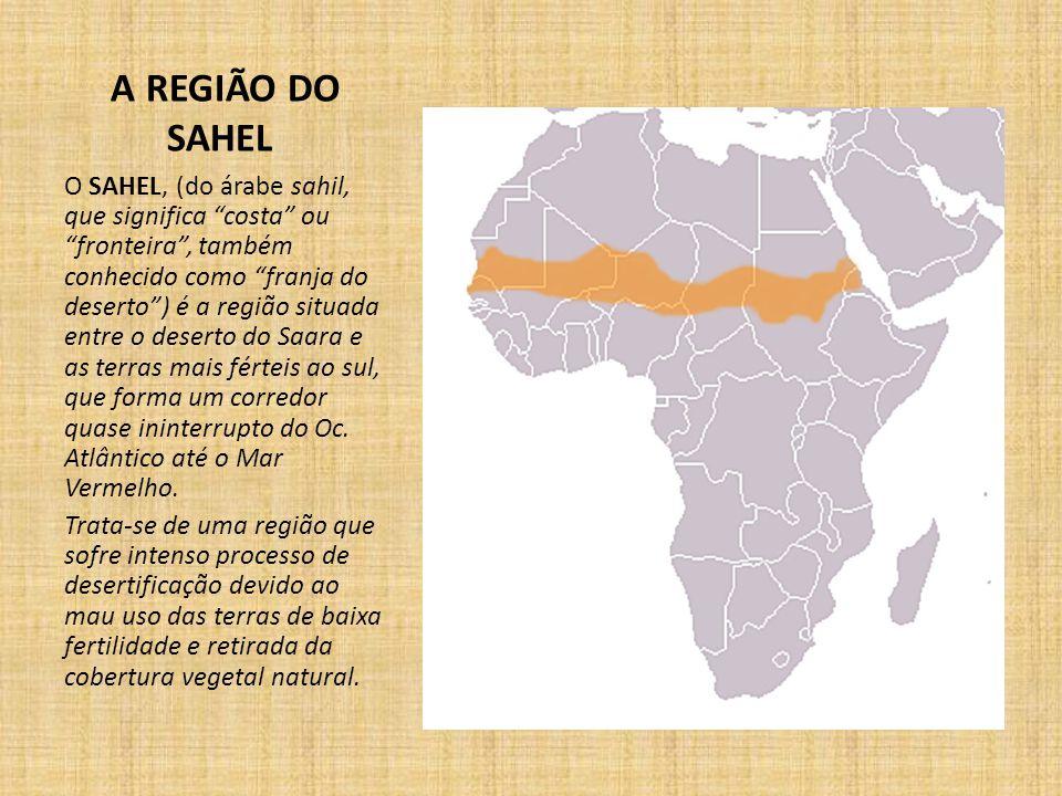 A REGIÃO DO SAHEL O SAHEL, (do árabe sahil, que significa costa ou fronteira , também conhecido como franja do deserto ) é a região situada entre o deserto do Saara e as terras mais férteis ao sul, que forma um corredor quase ininterrupto do Oc.