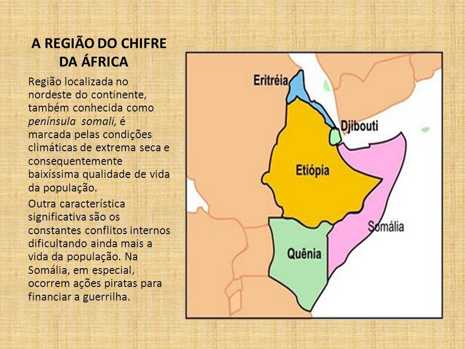 A REGIÃO DO CHIFRE DA ÁFRICA Região localizada no nordeste do continente, também conhecida como península somali, é marcada pelas condições climáticas de extrema seca e consequentemente baixíssima qualidade de vida da população.