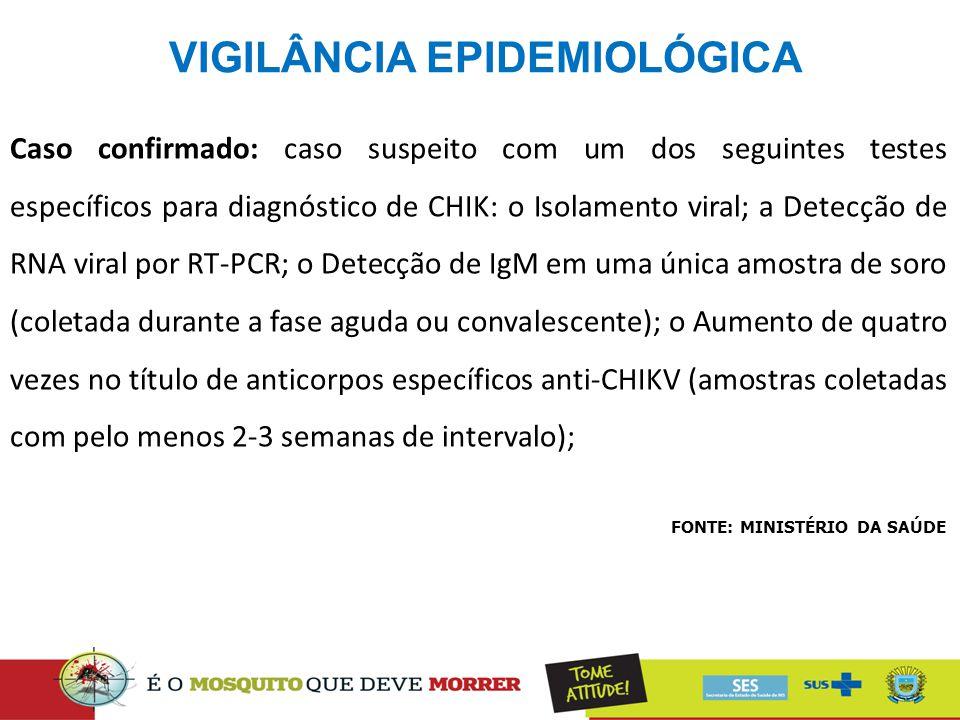 VIGILÂNCIA EPIDEMIOLÓGICA FONTE: MINISTÉRIO DA SAÚDE Caso confirmado: caso suspeito com um dos seguintes testes específicos para diagnóstico de CHIK: