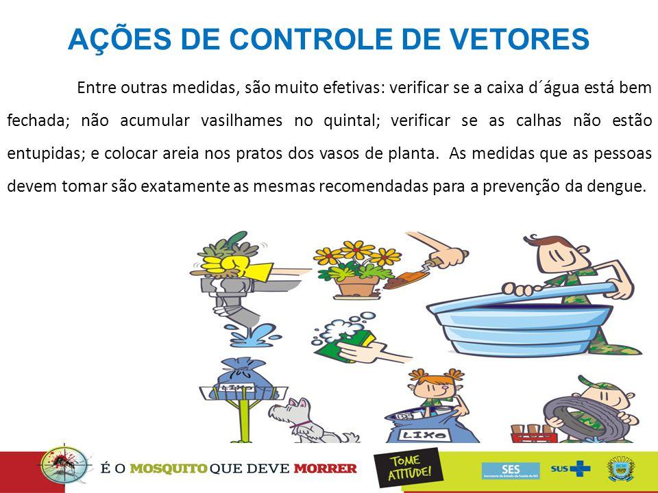 AÇÕES DE CONTROLE DE VETORES Entre outras medidas, são muito efetivas: verificar se a caixa d´água está bem fechada; não acumular vasilhames no quinta