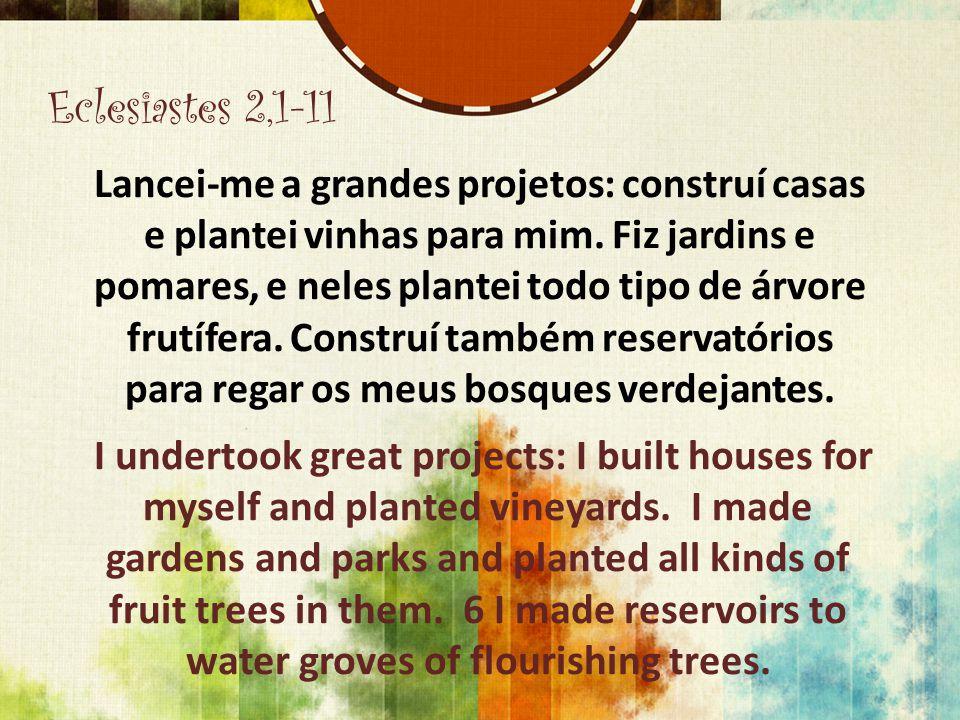 Eclesiastes 2,1-11 Lancei-me a grandes projetos: construí casas e plantei vinhas para mim. Fiz jardins e pomares, e neles plantei todo tipo de árvore