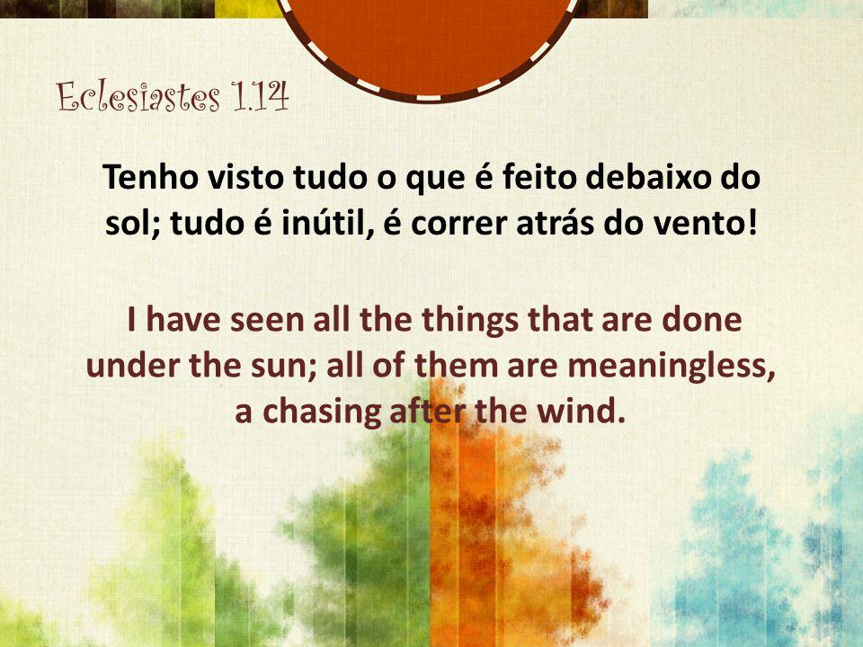 Eclesiastes 1.14 Tenho visto tudo o que é feito debaixo do sol; tudo é inútil, é correr atrás do vento! I have seen all the things that are done under
