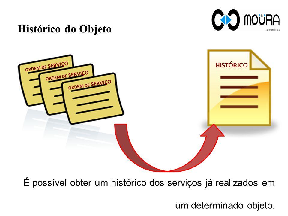 Histórico do Objeto É possível obter um histórico dos serviços já realizados em um determinado objeto.