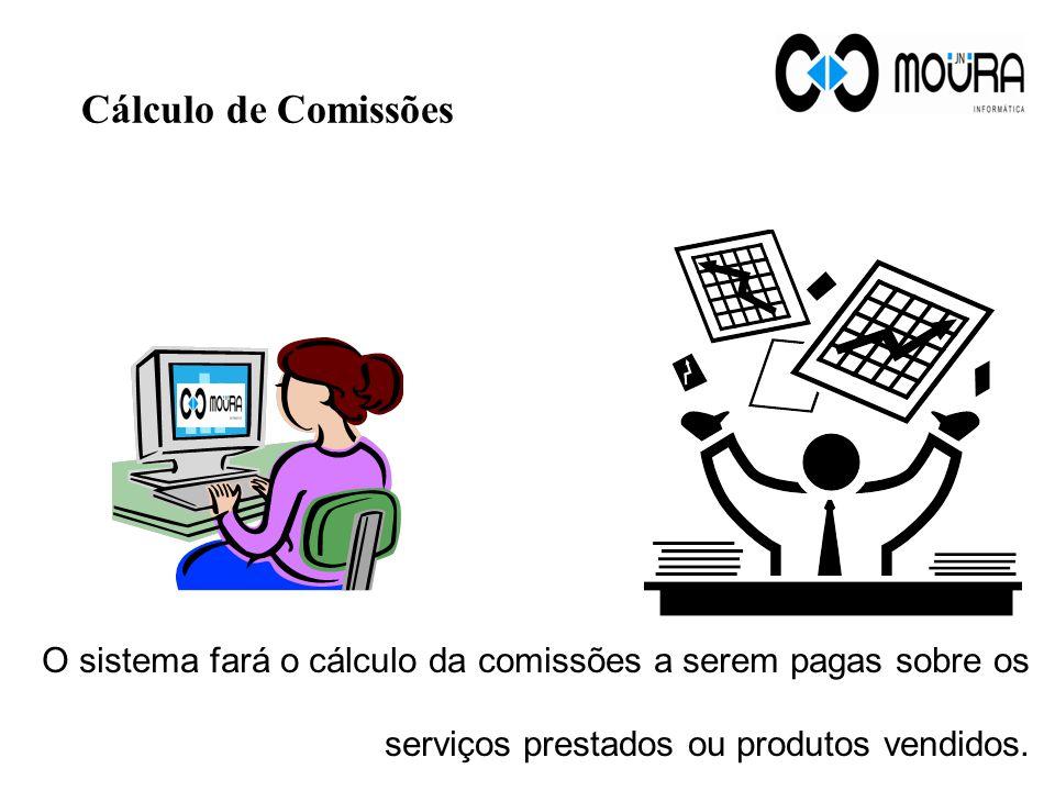 Cálculo de Comissões O sistema fará o cálculo da comissões a serem pagas sobre os serviços prestados ou produtos vendidos.