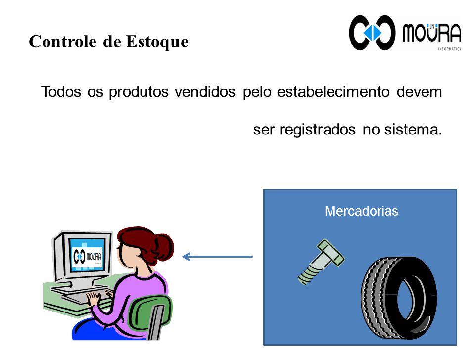 Controle de Estoque Mercadorias Todos os produtos vendidos pelo estabelecimento devem ser registrados no sistema.