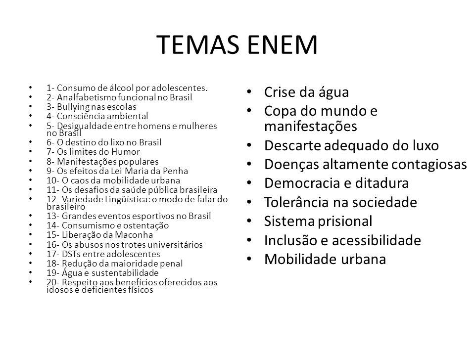 TEMAS ENEM 1- Consumo de álcool por adolescentes. 2- Analfabetismo funcional no Brasil 3- Bullying nas escolas 4- Consciência ambiental 5- Desigualdad