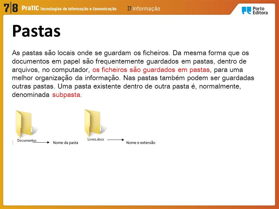 As pastas são locais onde se guardam os ficheiros. Da mesma forma que os documentos em papel são frequentemente guardados em pastas, dentro de arquivo