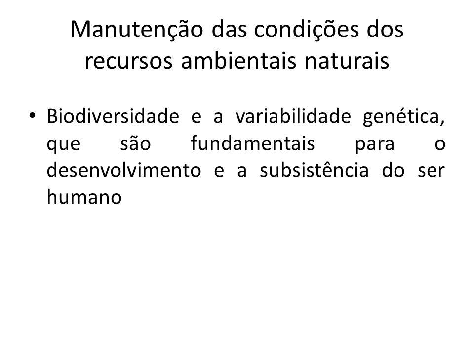 Manutenção das condições dos recursos ambientais naturais Biodiversidade e a variabilidade genética, que são fundamentais para o desenvolvimento e a subsistência do ser humano