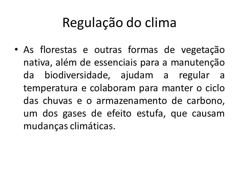 Regulação do clima As florestas e outras formas de vegetação nativa, além de essenciais para a manutenção da biodiversidade, ajudam a regular a temper