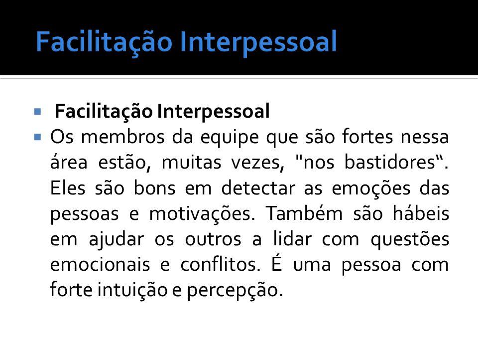  Facilitação Interpessoal  Os membros da equipe que são fortes nessa área estão, muitas vezes, nos bastidores .