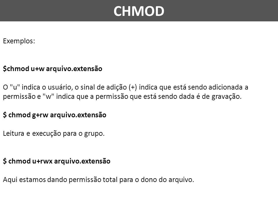 CHMOD Exemplos: $chmod u+w arquivo.extensão O u indica o usuário, o sinal de adição (+) indica que está sendo adicionada a permissão e w indica que a permissão que está sendo dada é de gravação.