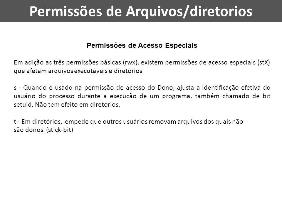 Permissões de Arquivos/diretorios Permissões de Acesso Especiais Em adição as três permissões básicas (rwx), existem permissões de acesso especiais (s