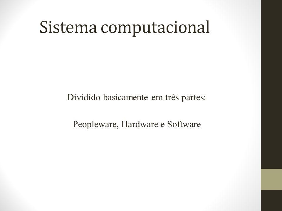 Sistema computacional Dividido basicamente em três partes: Peopleware, Hardware e Software