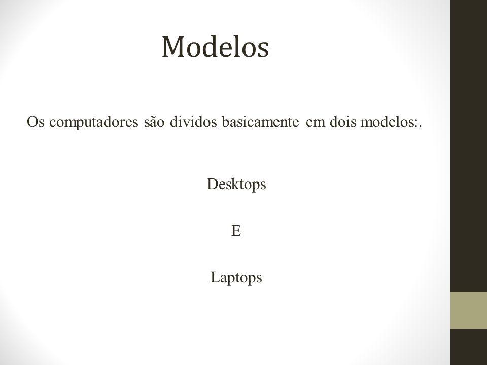 Modelos Os computadores são dividos basicamente em dois modelos:. Desktops E Laptops