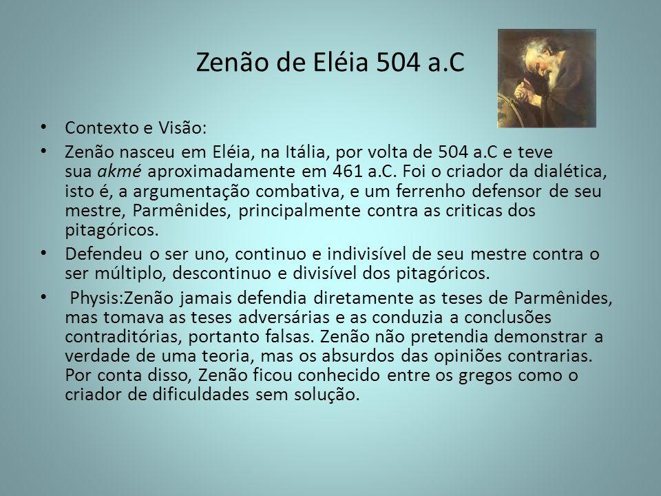 Zenão de Eléia 504 a.C Contexto e Visão: Zenão nasceu em Eléia, na Itália, por volta de 504 a.C e teve sua akmé aproximadamente em 461 a.C. Foi o cria