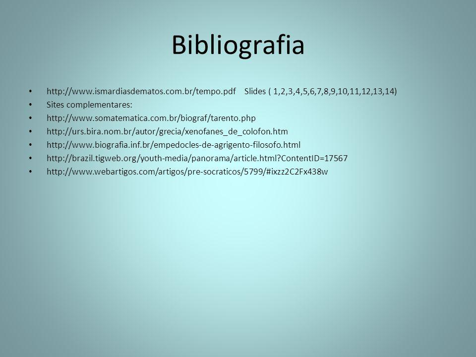 Bibliografia http://www.ismardiasdematos.com.br/tempo.pdf Slides ( 1,2,3,4,5,6,7,8,9,10,11,12,13,14) Sites complementares: http://www.somatematica.com