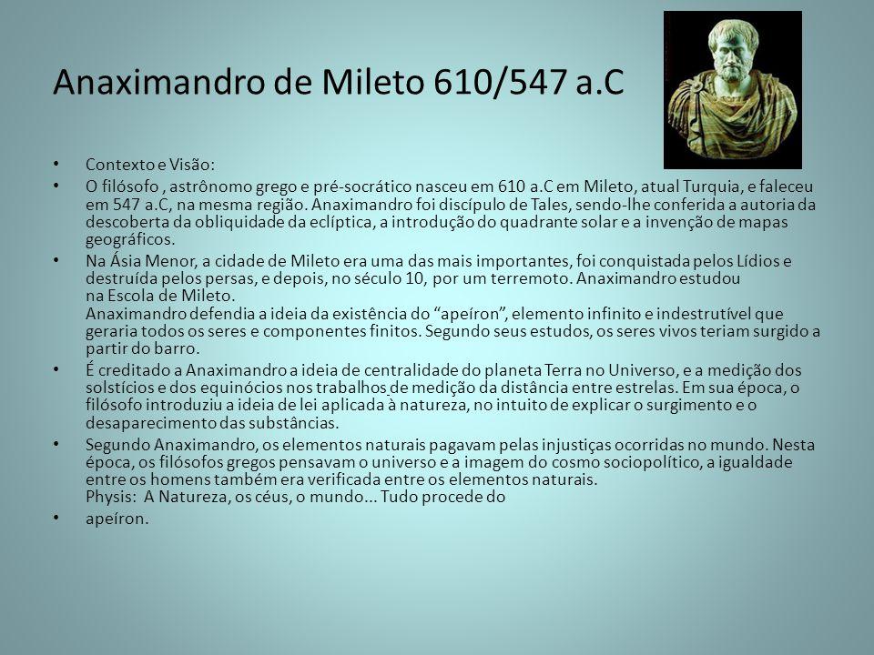 Anaximandro de Mileto 610/547 a.C Contexto e Visão: O filósofo, astrônomo grego e pré-socrático nasceu em 610 a.C em Mileto, atual Turquia, e faleceu
