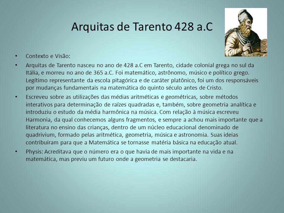 Arquitas de Tarento 428 a.C Contexto e Visão: Arquitas de Tarento nasceu no ano de 428 a.C em Tarento, cidade colonial grega no sul da Itália, e morre