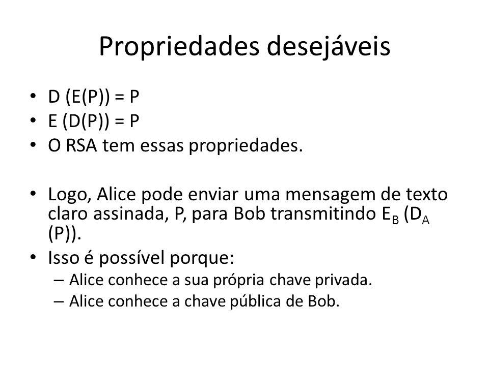 Propriedades desejáveis D (E(P)) = P E (D(P)) = P O RSA tem essas propriedades. Logo, Alice pode enviar uma mensagem de texto claro assinada, P, para