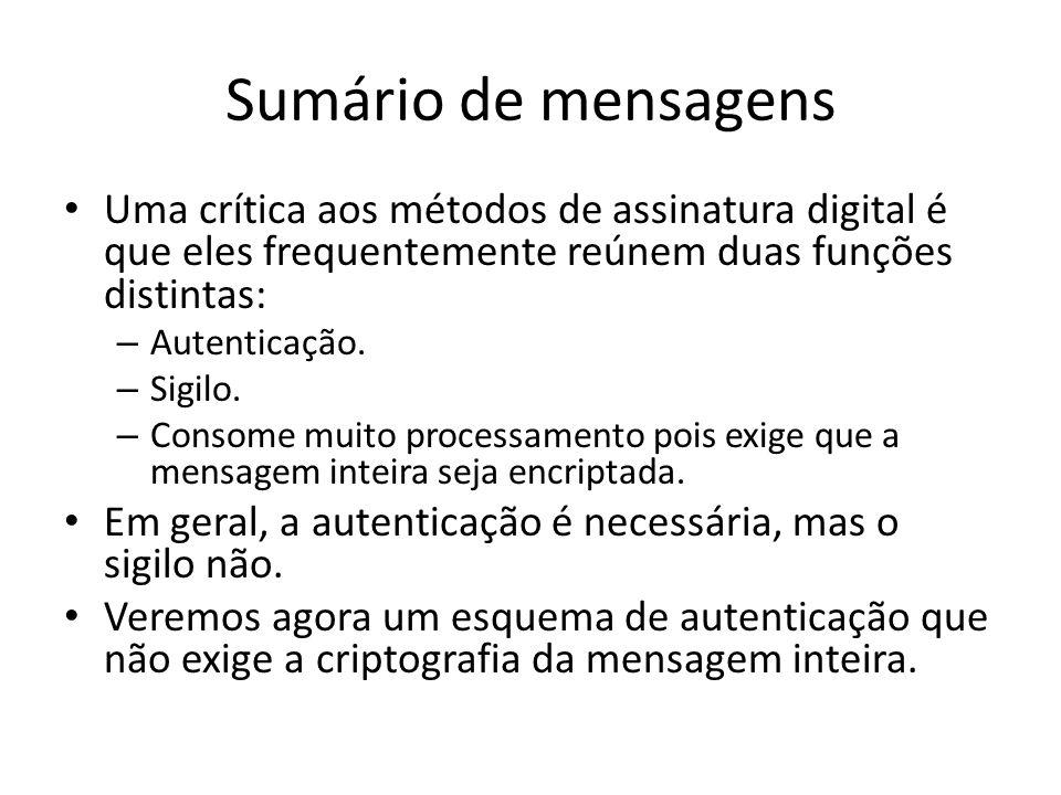 Sumário de mensagens Uma crítica aos métodos de assinatura digital é que eles frequentemente reúnem duas funções distintas: – Autenticação. – Sigilo.