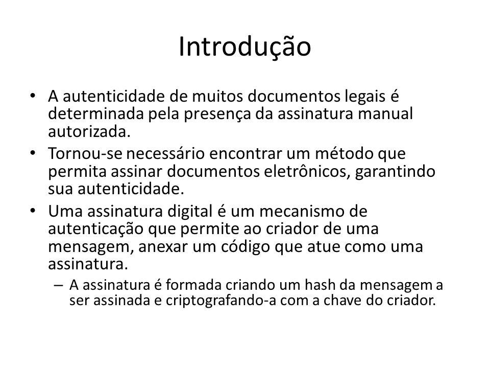 Introdução A autenticidade de muitos documentos legais é determinada pela presença da assinatura manual autorizada. Tornou-se necessário encontrar um