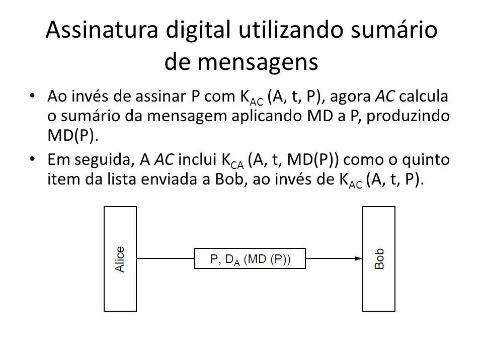 Assinatura digital utilizando sumário de mensagens Ao invés de assinar P com K AC (A, t, P), agora AC calcula o sumário da mensagem aplicando MD a P,