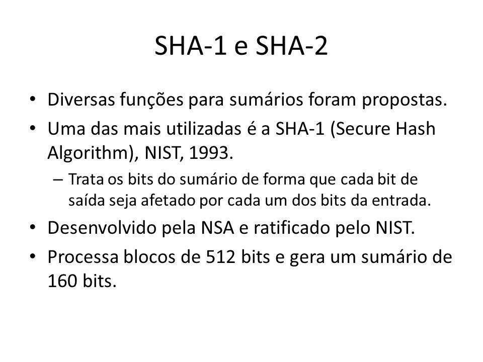 SHA-1 e SHA-2 Diversas funções para sumários foram propostas. Uma das mais utilizadas é a SHA-1 (Secure Hash Algorithm), NIST, 1993. – Trata os bits d