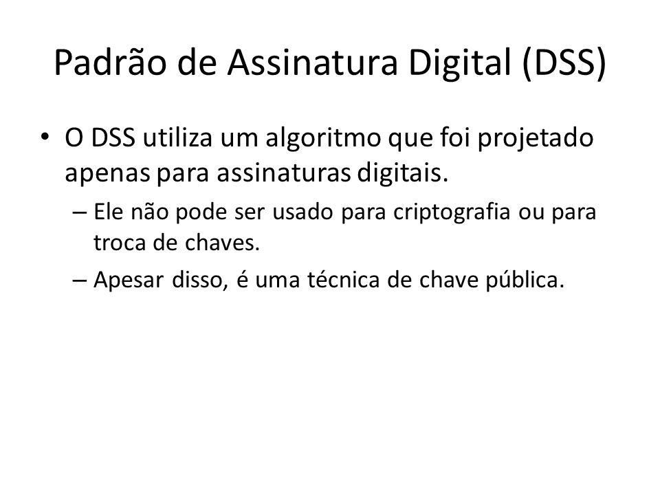 Padrão de Assinatura Digital (DSS) O DSS utiliza um algoritmo que foi projetado apenas para assinaturas digitais. – Ele não pode ser usado para cripto