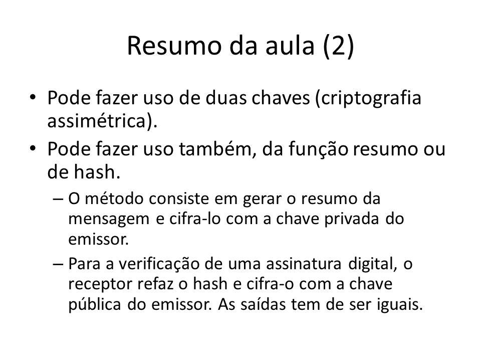 Resumo da aula (2) Pode fazer uso de duas chaves (criptografia assimétrica). Pode fazer uso também, da função resumo ou de hash. – O método consiste e