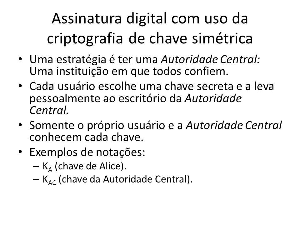 Assinatura digital com uso da criptografia de chave simétrica Uma estratégia é ter uma Autoridade Central: Uma instituição em que todos confiem. Cada