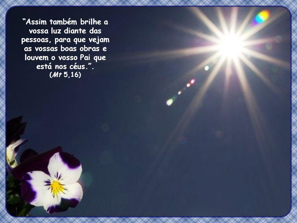 Assim também brilhe a vossa luz diante das pessoas, para que vejam as vossas boas obras e louvem o vosso Pai que está nos céus. .