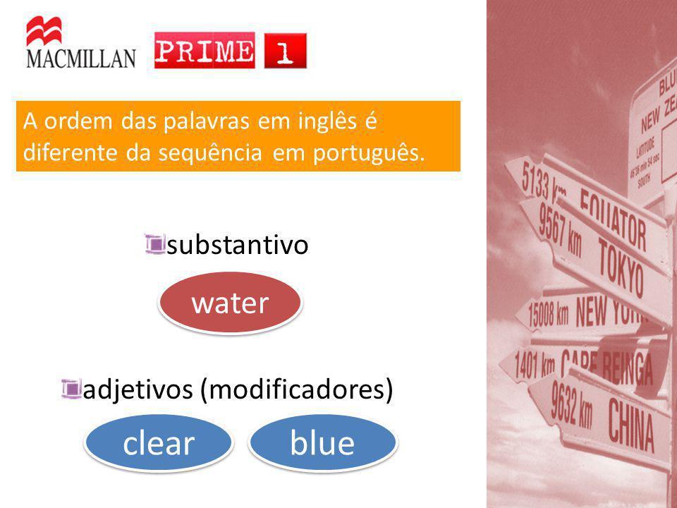A ordem das palavras em inglês é diferente da sequência em português. substantivo adjetivos (modificadores) water clear blue