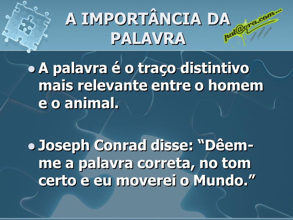 A IMPORTÂNCIA DA PALAVRA A palavra é o traço distintivo mais relevante entre o homem e o animal.