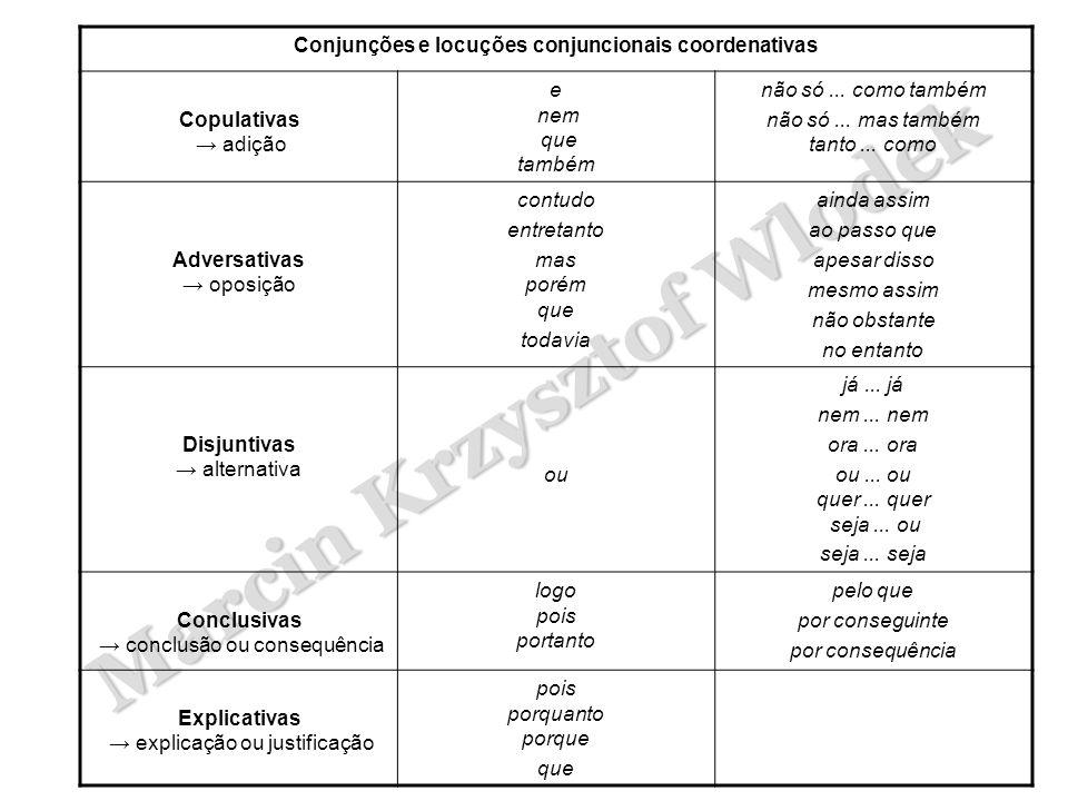 Marcin Krzysztof Wlodek Conjunções e locuções conjuncionais coordenativas Copulativas → adição e nem que também não só... como também não só... mas ta
