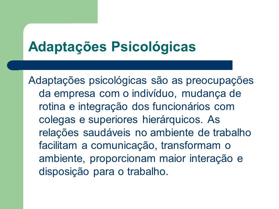 Adaptações Psicológicas Adaptações psicológicas são as preocupações da empresa com o indivíduo, mudança de rotina e integração dos funcionários com co
