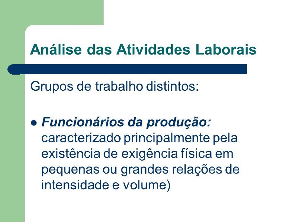 Análise das Atividades Laborais Grupos de trabalho distintos: Funcionários da produção: caracterizado principalmente pela existência de exigência físi