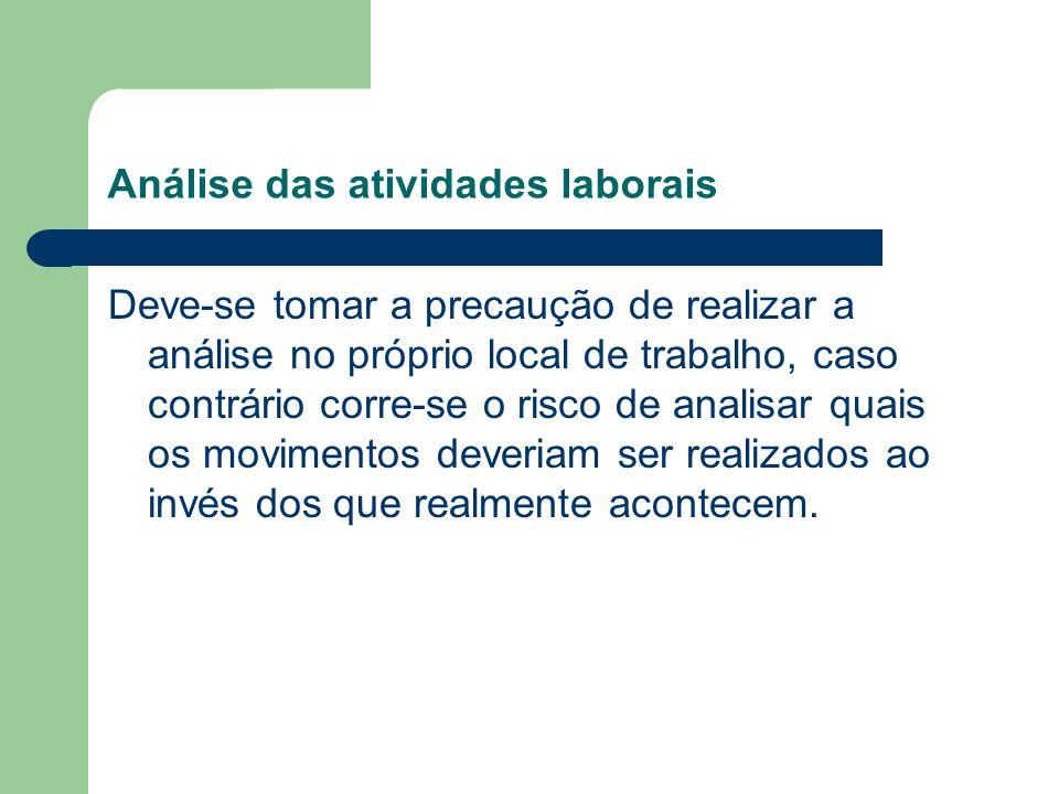 Análise das atividades laborais Deve-se tomar a precaução de realizar a análise no próprio local de trabalho, caso contrário corre-se o risco de anali