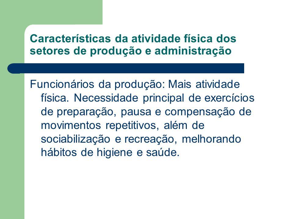 Características da atividade física dos setores de produção e administração Funcionários da produção: Mais atividade física. Necessidade principal de