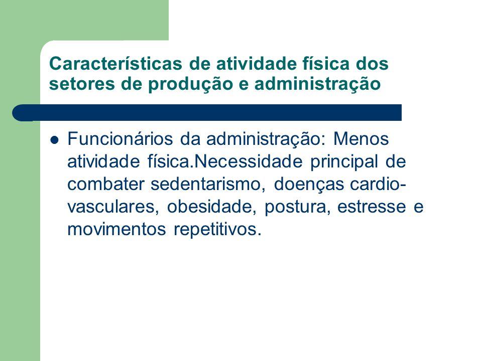 Características de atividade física dos setores de produção e administração Funcionários da administração: Menos atividade física.Necessidade principa
