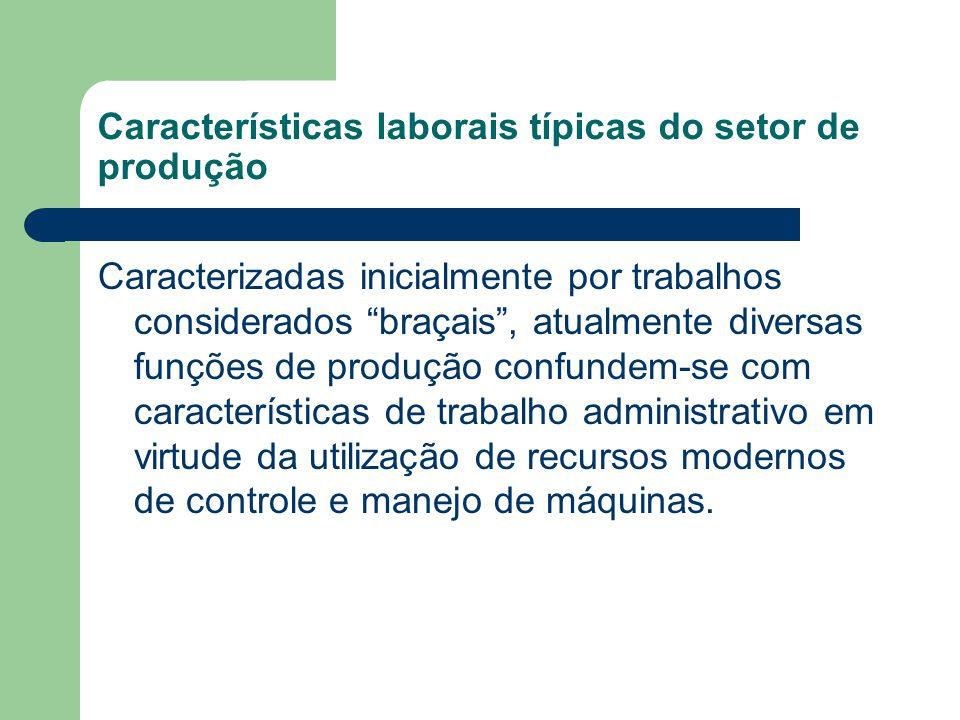 """Características laborais típicas do setor de produção Caracterizadas inicialmente por trabalhos considerados """"braçais"""", atualmente diversas funções de"""