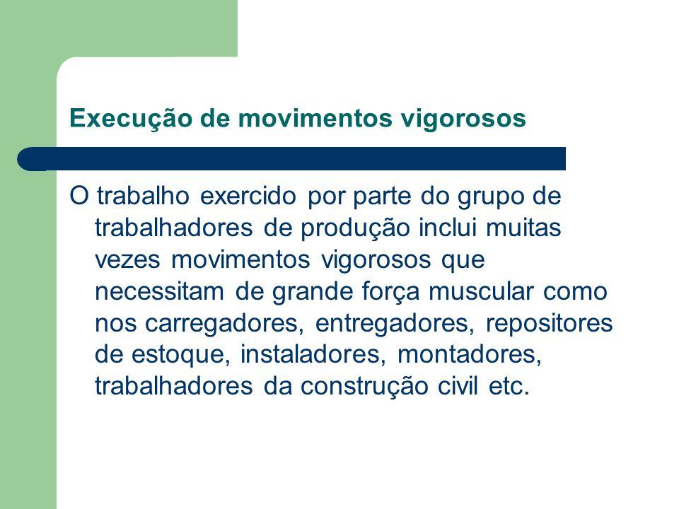 Execução de movimentos vigorosos O trabalho exercido por parte do grupo de trabalhadores de produção inclui muitas vezes movimentos vigorosos que nece