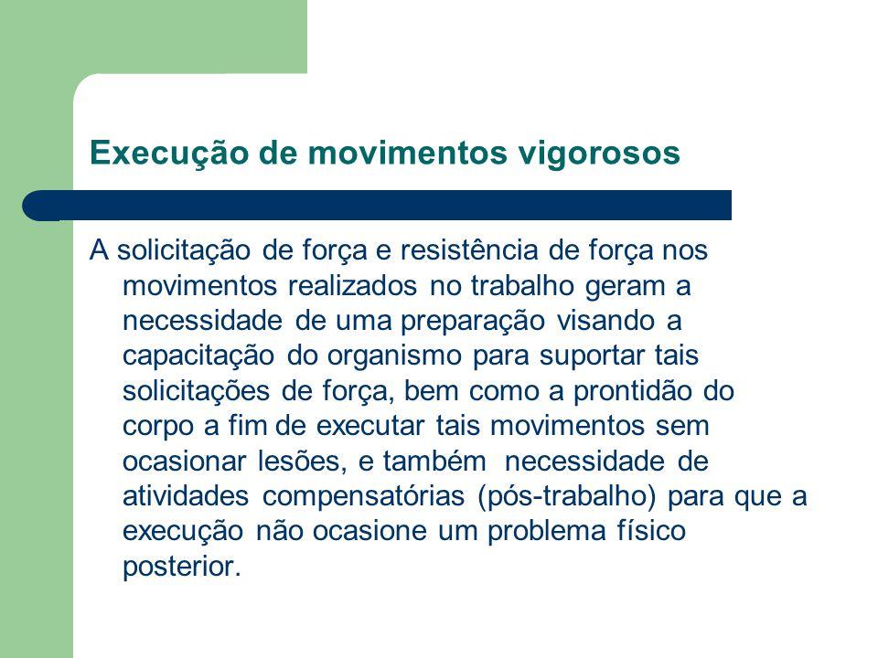 Execução de movimentos vigorosos A solicitação de força e resistência de força nos movimentos realizados no trabalho geram a necessidade de uma prepar