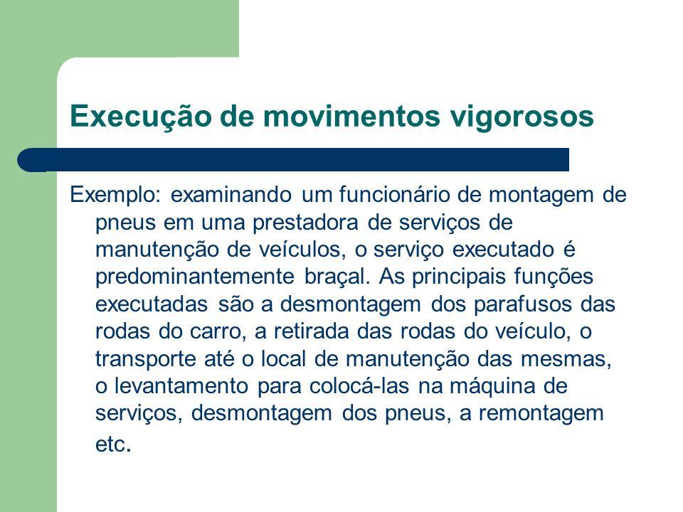 Execução de movimentos vigorosos Exemplo: examinando um funcionário de montagem de pneus em uma prestadora de serviços de manutenção de veículos, o se