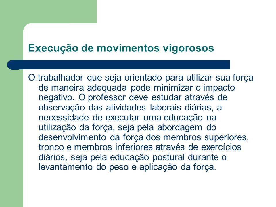 Execução de movimentos vigorosos O trabalhador que seja orientado para utilizar sua força de maneira adequada pode minimizar o impacto negativo. O pro