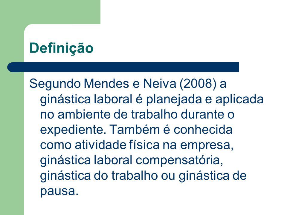 Definição Segundo Mendes e Neiva (2008) a ginástica laboral é planejada e aplicada no ambiente de trabalho durante o expediente. Também é conhecida co