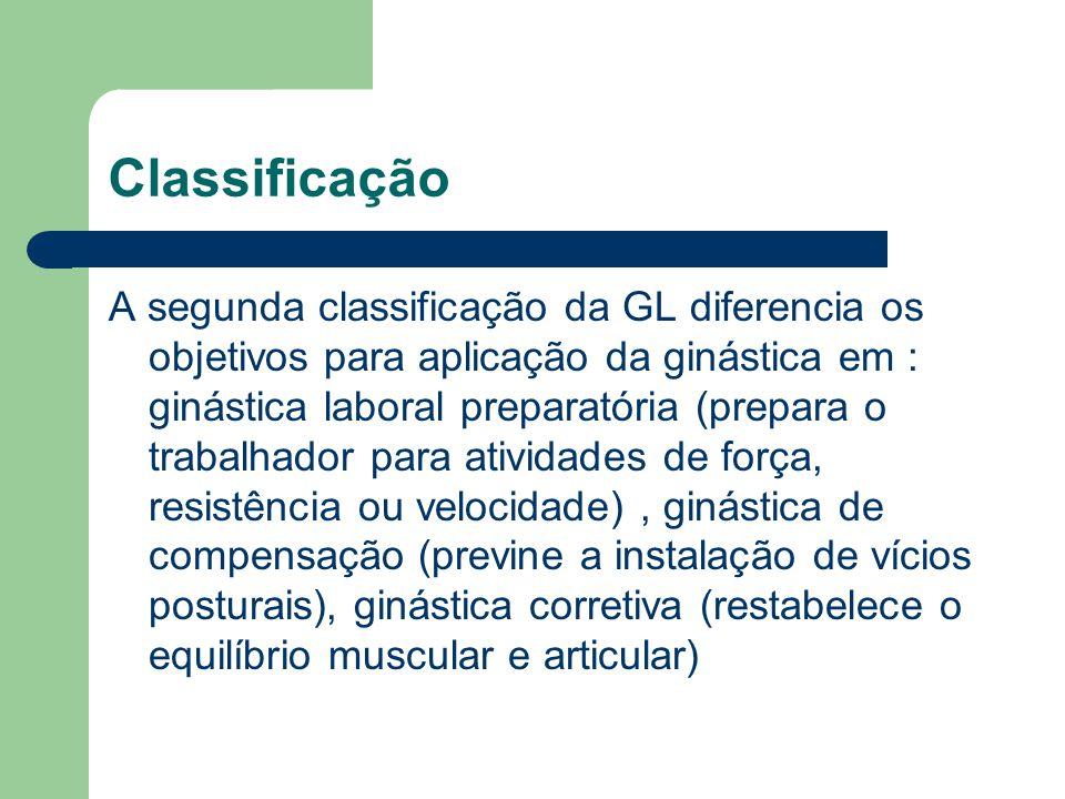 Classificação A segunda classificação da GL diferencia os objetivos para aplicação da ginástica em : ginástica laboral preparatória (prepara o trabalh