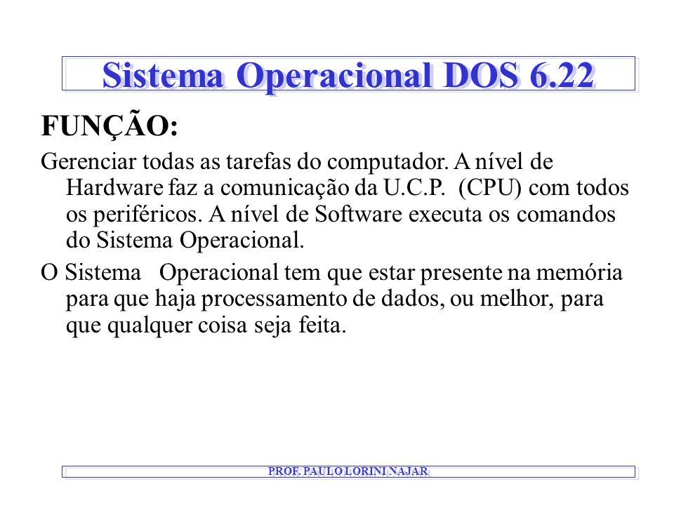 Sistema Operacional DOS 6.22 FUNÇÃO: Gerenciar todas as tarefas do computador. A nível de Hardware faz a comunicação da U.C.P. (CPU) com todos os peri
